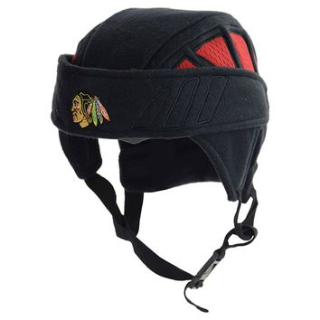 Chicago Blackhawks NHL Zephyr Rink Rat Helmet Fleece Black Hat