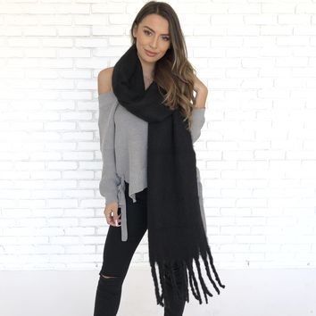 Midnight Cashmere Oversized Scarf in Black