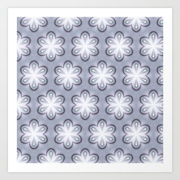 Gray and White Retro Flowers Art Print by MoonBrook