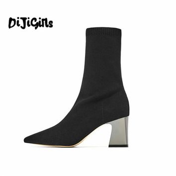 Diji Girls Fashion Ankle Elastic Sock Boots Chunky High Heels Stretch Women Autumn Sexy Booties Pointed Toe Women Pump Size 39