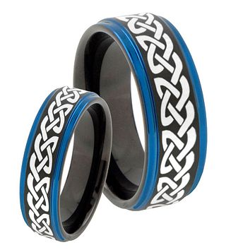 His Hers Celtic Knot Love Blue Step Edges Tungsten Men's Wedding Band Set