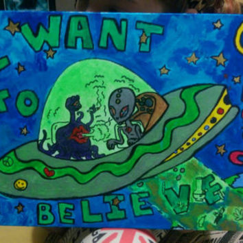 I want to believe glow in the dark painting