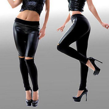 New Women Faux Leather Stretchy High Waist Pencil Pants S M L XL