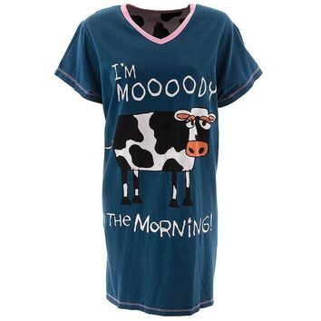 CREYON Cow Moody in the Morning Women's V-Neck Nightshirt