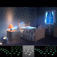 Free Shipping Wall Stickler 100pcs/package Home Decor Light Green Glow Luminous Star Stickers Decal Baby / Children Room