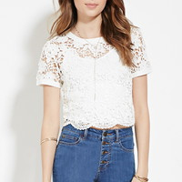 Sheer Floral Crochet Top