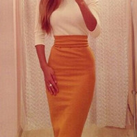 White and Yellow Color Block Midi Dress