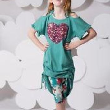 NEW PAPER WINGS DEEP TURQUOISE SEQUIN HEART DRESS W/TIES SIZE 2