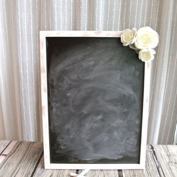 Chalkboard Sign with Flowers - Wedding Sign, Seating Chart, Menu - Custom Colors