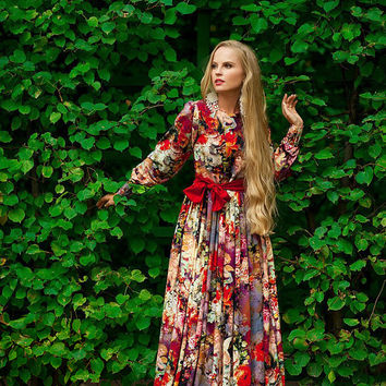 maxi summer dress, Floral long summer dress, long day dress, casual maxi dress, extravagant print dress, floral gypsy Dress, bohemian dress