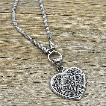 Estate Sterling Silver Bali Style Heart Necklace 925 Handmade Jewelry