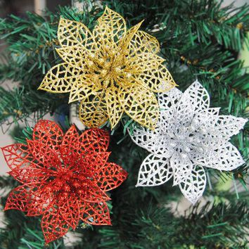 DKF4S 10pcs Colourful Glitter Artificial Hollow Flowers Wedding Party Christmas Xmas Tree Home Valentine's Day Decorations