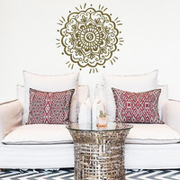 NEW Hand Painted Mandala Wall Decal Sticker Meditation Decor- Mandala Decal Large Wall Decor Living Room Bedroom Yoga Studio Decoration #200