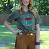 Lago Serape Texas Short Sleeve Tee in Olive Green