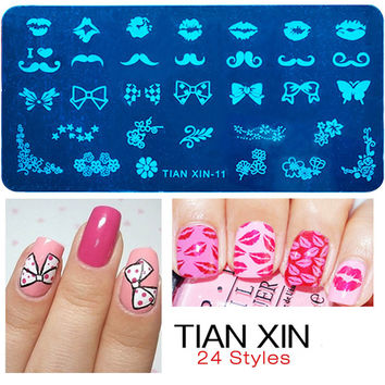 New 2016 Gift Rectangular Nail Stamping Plates Butterfly Design Nail Art Polish Stamp Template Manicure Beauty Tools E10220