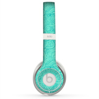 The Teal Leaf Laced Pattern Skin for the Beats by Dre Solo 2 Headphones