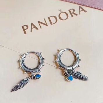 Pandora new fashion sterling silver circle feather women long earring Silver