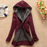 Plus velvet long-sleeved hooded sweater coat loose JCHCB