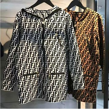 FENDI Popular Women Loose Jacquard Knit Long Sleeve Hoodie Zipper Sweater Cardigan Jacket Coat