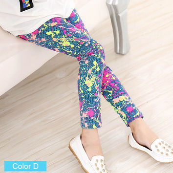 Childrens printed Flower Toddler Classic Leggings girls pants Girls legging 2-14Y Page 1