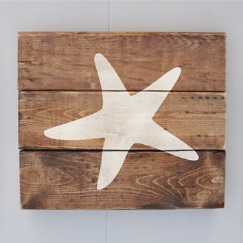 Beach Decor Sign, Coastal Decor, Beach House, Beach Wedding Decoration, Vintage Wall Decor, Star Fish