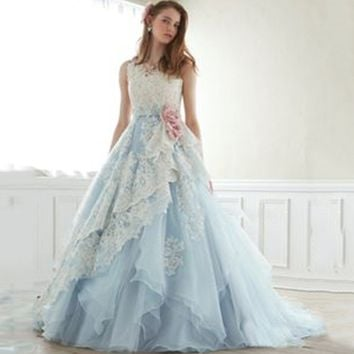 Women's Fashion Sleeveless Floral Lace Wedding Dresses Prom Dress Princess Dresses Formal Dresses