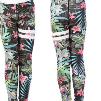 Girls Coconut Leaves Leggings