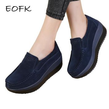 eofk women flat platform loafers ladies elegant suede leather moccasins shoes woman sl  number 1