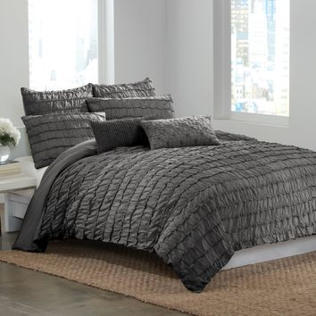 DKNY® Ruffle Wave Charcoal Duvet Cover