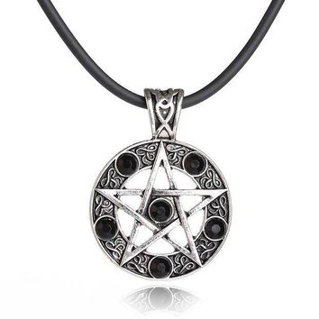ICIKH3L Retro Personality Dark Witch Mysterious Rhinestone Pentagram Chocker Necklace Women Collocation Accessories