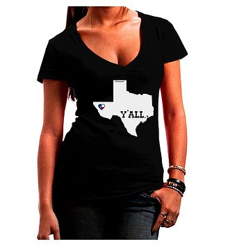 Texas State Y'all Design with Flag Heart Juniors V-Neck Dark T-Shirt by TooLoud