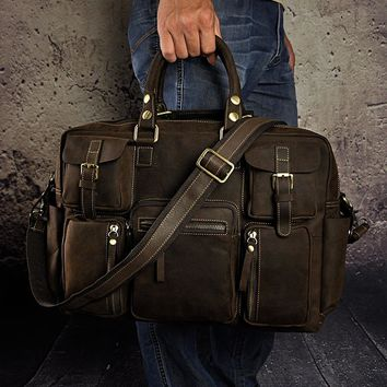 High Quality fashion vintage crazy horse leather handbag travel laptop bag male portfolio tote gye luggage 3061