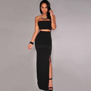 Womens Bodycon Bandeau Crop Top and Maxi Split Skirt Ladies Two Piece Dress Set