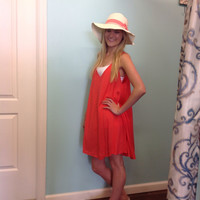 Haylee Sleeveless A-Line Dress/Cover Up With Pockets: Coral, Royal Blue, Fuschia, Emerald, Black