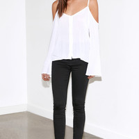 Kendall & Kylie Button-Front Cold Shoulder Top at PacSun.com