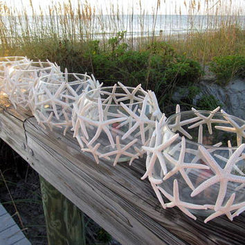 Beach Wedding Starfish Candle Centerpieces, set of 5