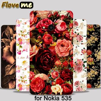Beautiful Flower Rose Peony Tulip  Hood PC Paiting Cases For Microsoft Nokia Lumia 535 N535 Mobile Phone Case Cover Shell