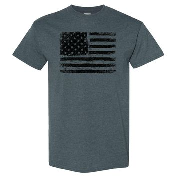 American US Flag on a Dark Heather T Shirt