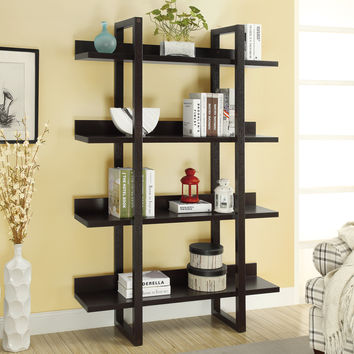 "Bookcase - 71""H - Cappuccino Open Concept Display Etagere"