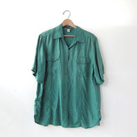 90s silk shirt. sage green blouse. minimalist short sleeve top. pocket shirt.