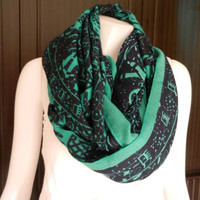 SOFT Cotton Scarf Elephant Parade Print Infinity Scarf Green Long Scarf Shawl Wrap Women Holiday Fashion Accessories