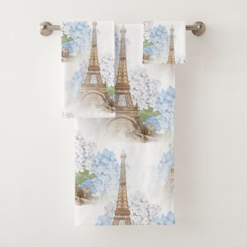 Paris Blue Hydrangea White Towel Set