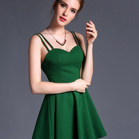 Green Double Strap Sweetheart Neckline High Waist Skater Dress