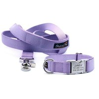 Dog Collar With Personalized Buckle - Light Orchid