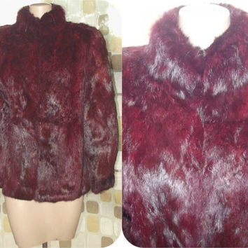 Vintage 70s 80s Deep Black Cherry Dyed Rabbit Fur Coat Gothic Luxe M/L Winter Jacket