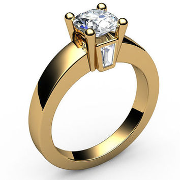 Forever one moissanite engagement ring Solitaire flanked by 2 taper baguettes Diamonds in 18K Yellow or 18K White Gold
