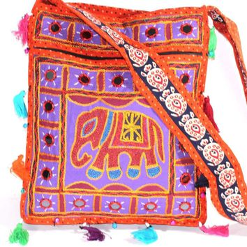 Mirror Work Elephant Multi Color Sling Jhola Bag