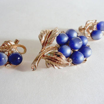 Coro Blue Moonstone Brooch and Earrings, Coro Pin, Signed Vintage Jewelry Mid-Century Style