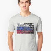 'Russia Old Wooden Flag' Graphic T-Shirt by hypnotzd