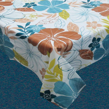 Summer Floral Vinyl Flannel Backed Tablecloth